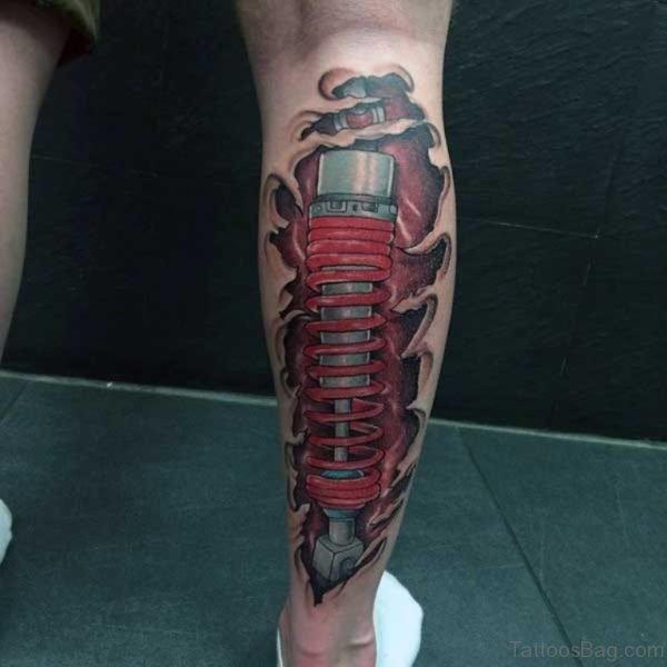 Graceful Biomechanical Leg Tattoo