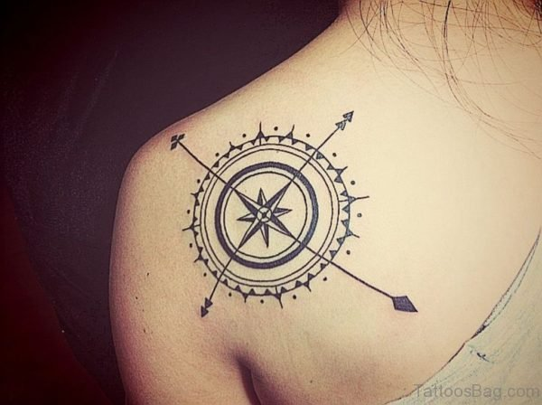 Graceful Compass Tattoo On Back