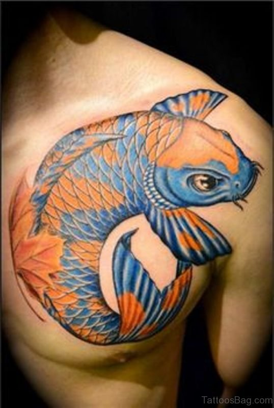 Graceful Fish Tattoo On Chest