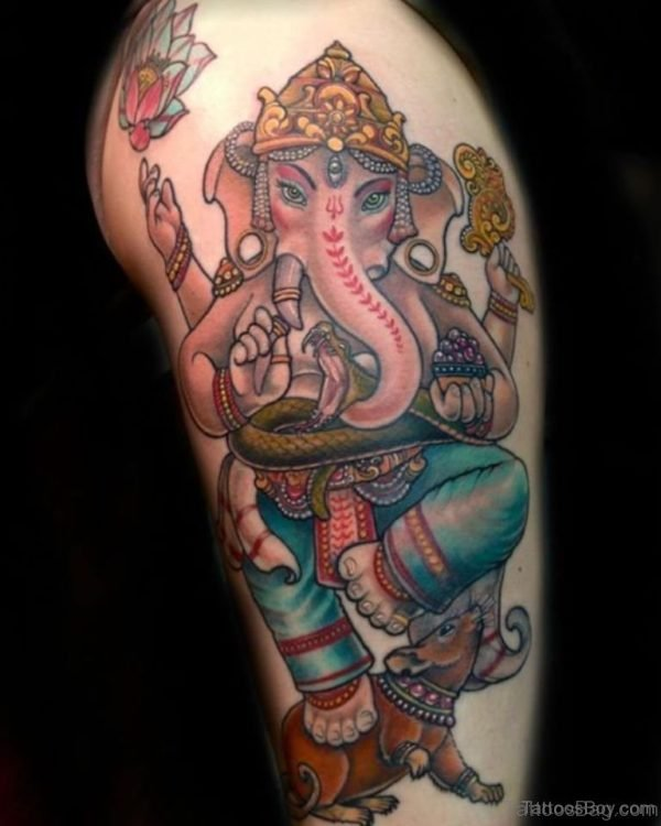 Graceful Ganesha Tattoo On Thigh