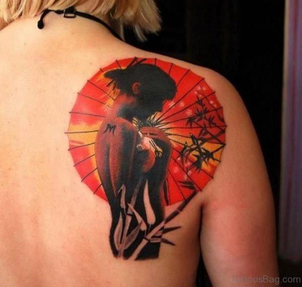 Graceful Geisha Tattoo On Back