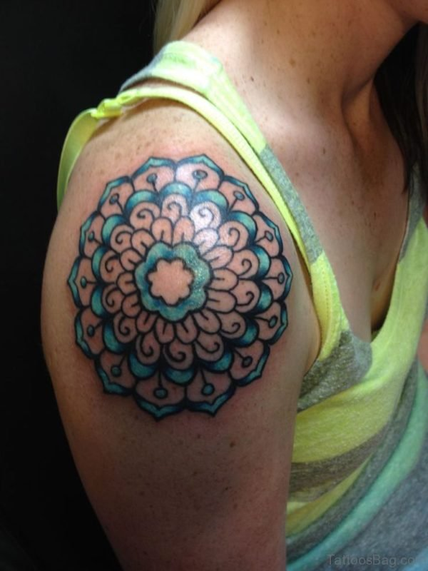 Graceful Mandala Tattoo On Shoulder