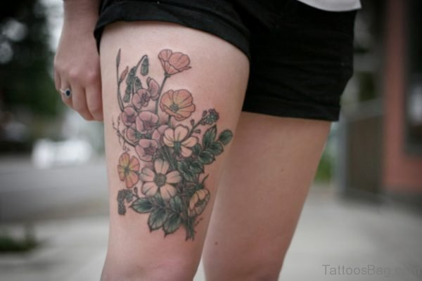 Graceful Mom Banner Rose Tattoo On Thigh