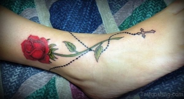 Graceful Rose Tattoo On Ankle