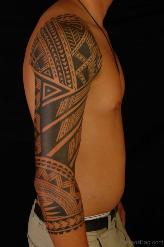 Graceful Tribal Tattoo On Full Sleeve