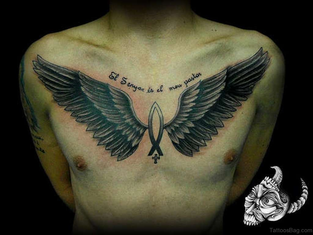 81 alluring wings tattoo on chest. Black Bedroom Furniture Sets. Home Design Ideas