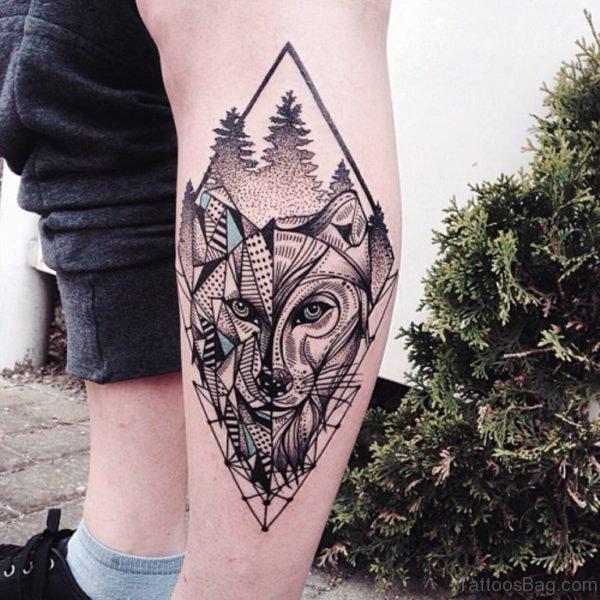 Graceful Wolf Tattoo Design On Leg