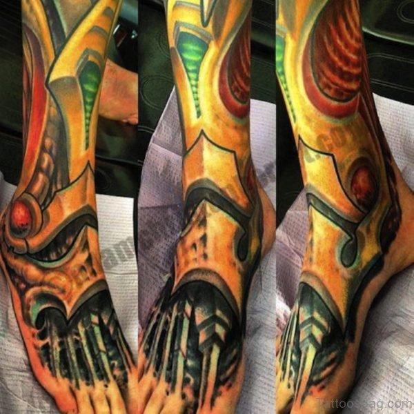 Great Biomechanical Tattoo On Foot