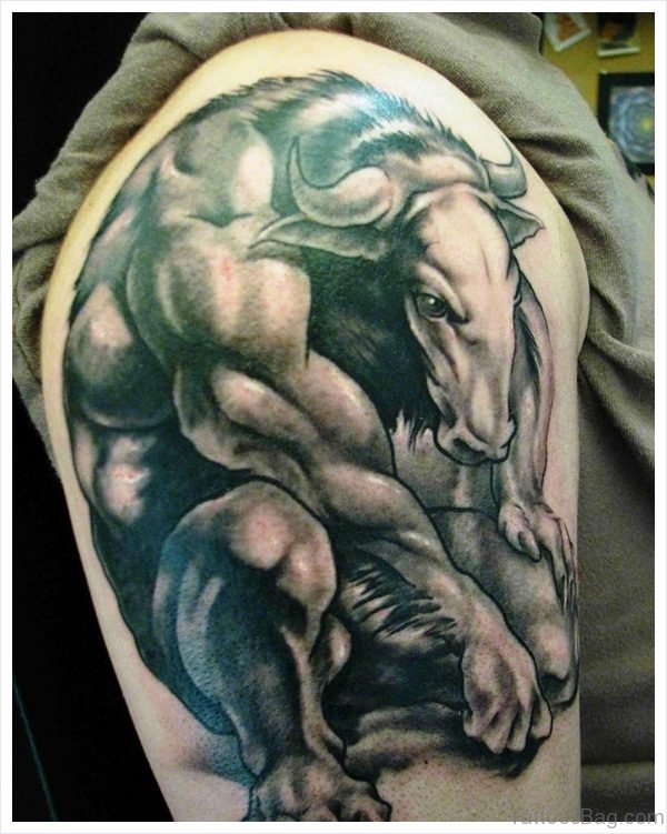 Great Bull Tattoo On Shoulder