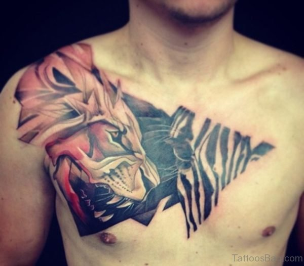 Great Colorful Lion And Zebra Tattoo