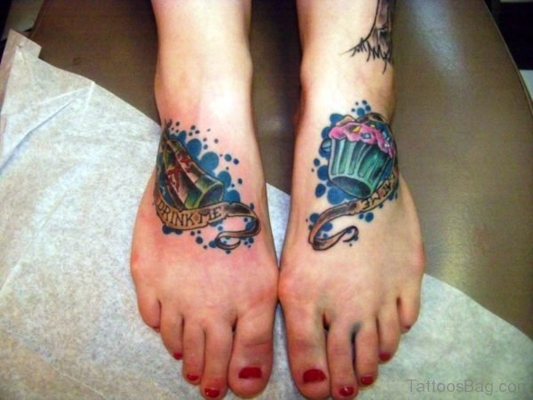 Great Cupcake Tattoo On Foot