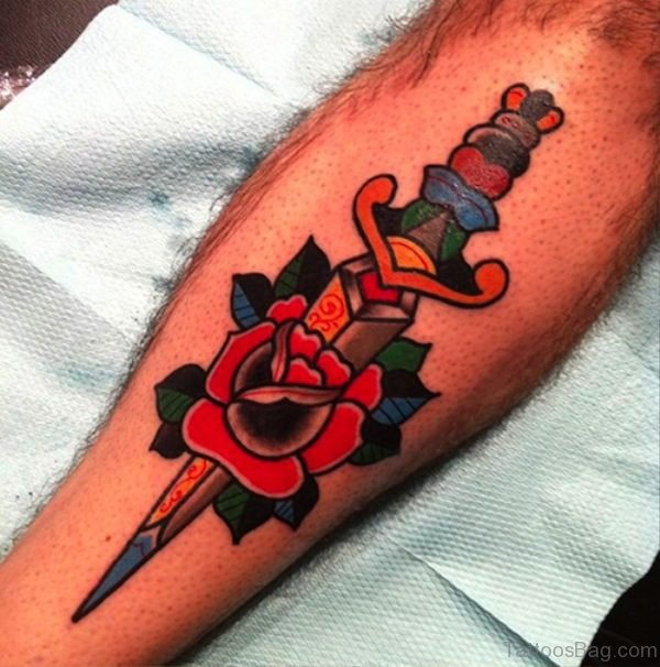 Great Dagger With Rose On Arm