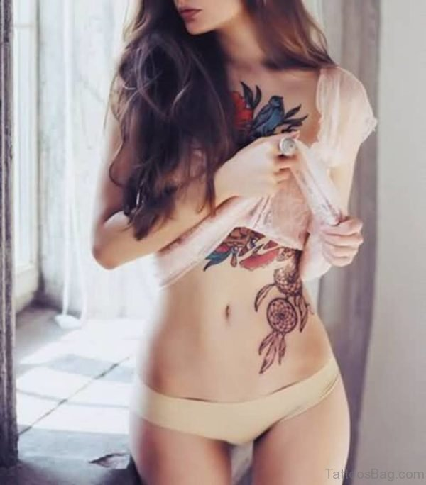 Great Dreamcatcher Tattoo On Rib