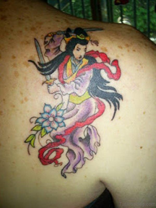 Great Geisha Tattoo On Upper Back