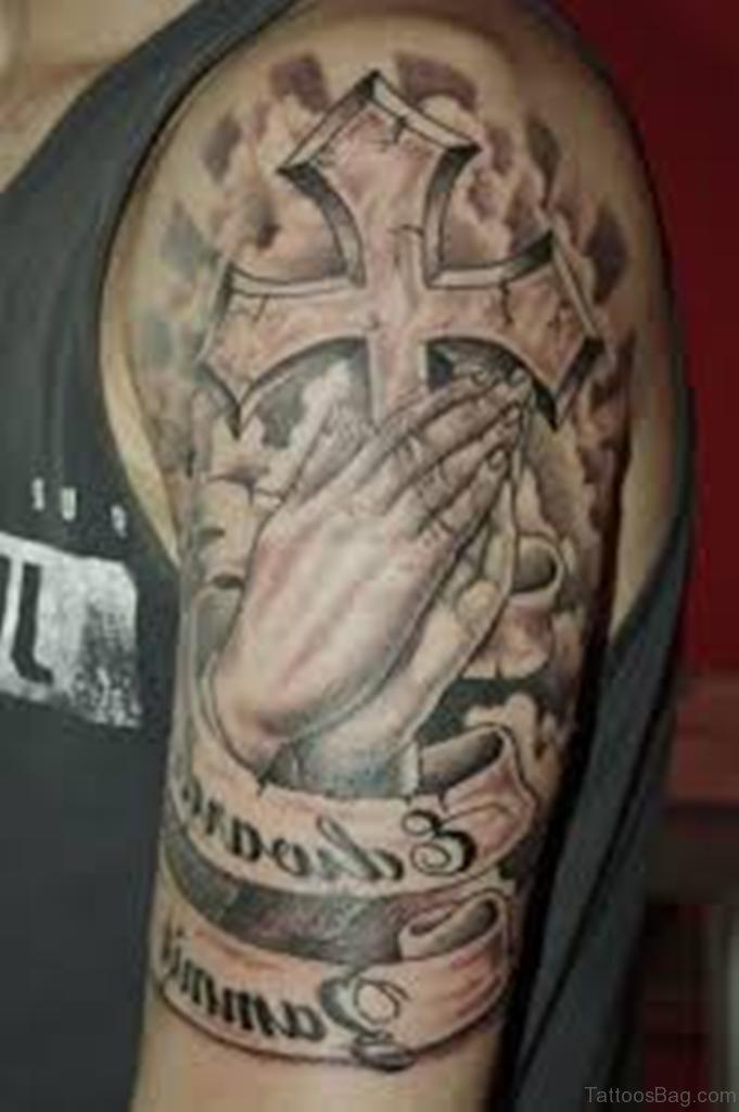 c1d33818b 50 Excellent Praying Hands Tattoos For Shoulder
