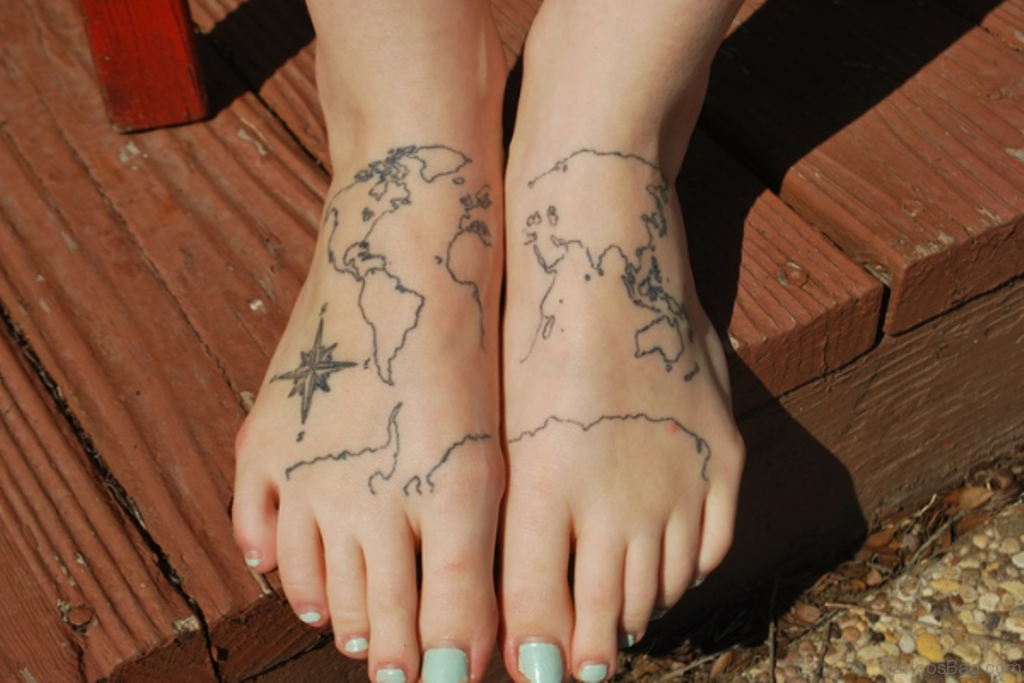 47 incredible map tattoos for foot great map tattoo gumiabroncs Image collections