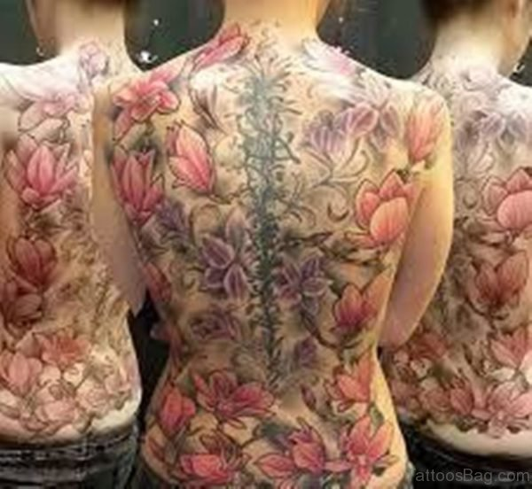 Great Magnolia Tattoo On Full Back