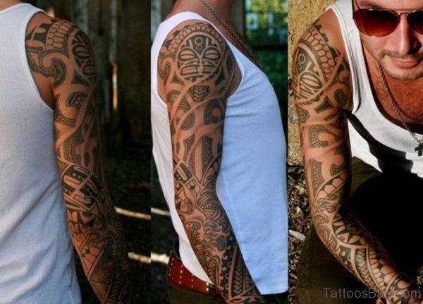 Great Maori Tribal Tattoo For Full Sleeve