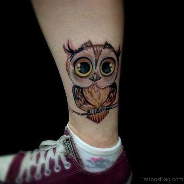 Great Owl Tattoo On Leg