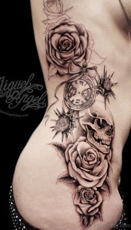 Great Rose And Skull Tattoo