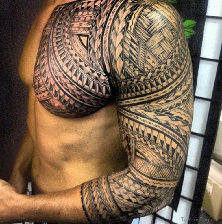 61 stylish tribal tattoos on chest for Tribal half sleeve tattoos