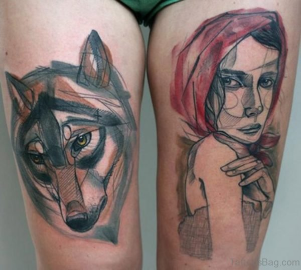 Great Wolf Tattoo On Thigh