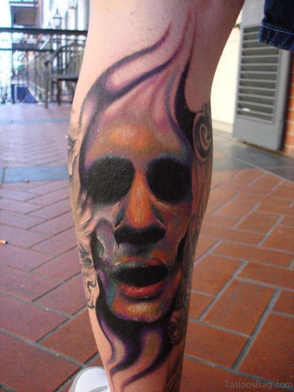 Great Zombie Tattoo On Leg