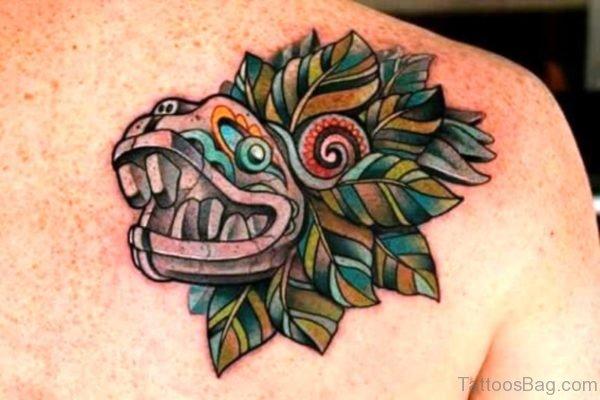 Green Aztec Shoulder Tattoo