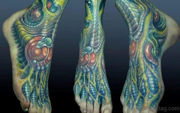 Green Biomechanical Tattoo