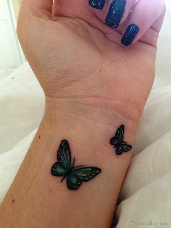 Green Butterflies Tattoo On Wrist
