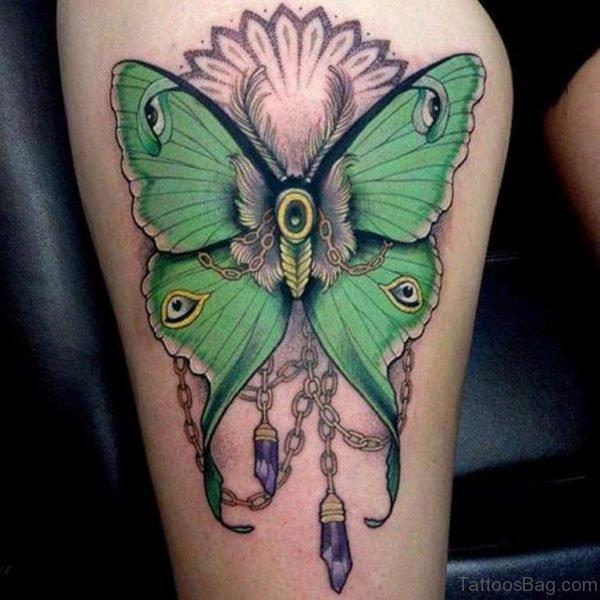 Green Butterfly Tattoo Design