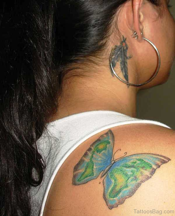 Green Butterfly Tattoo On Shoulder Back