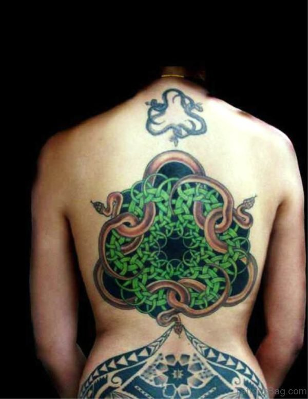Green Celtic Escher With Snakes Tattoo On Back