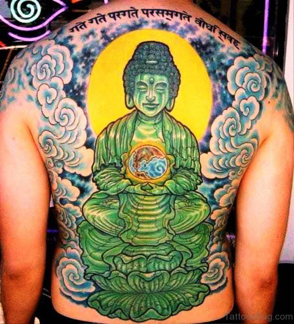 Green Color Buddha Tattoo On Back