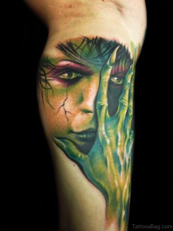 Green Color Zombie Tattoo