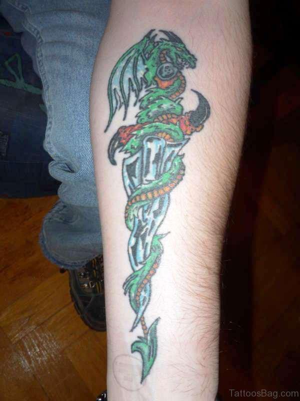 Green Dagger With Green Dragon Tattoo