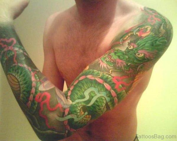 Green Dragon Tattoo On Full Sleeve