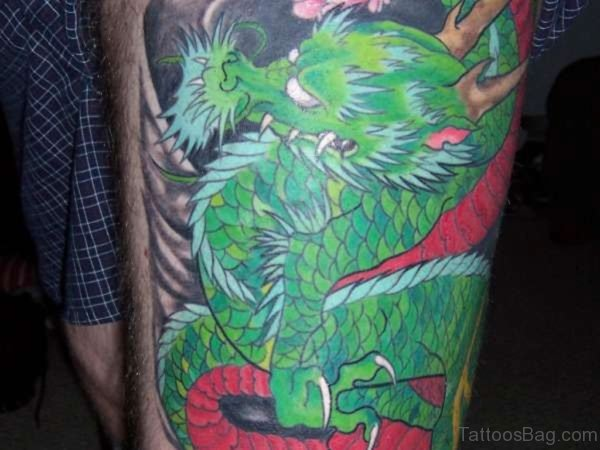 Green Dragon Tattoo On Thigh