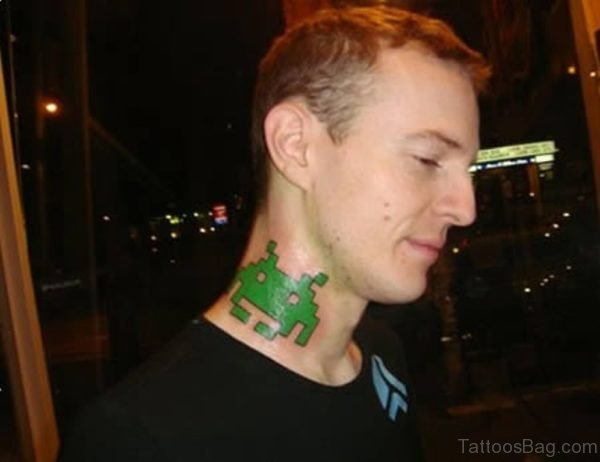 Green Frog Tattoo On Neck