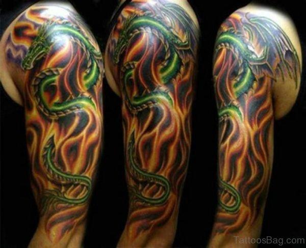 Green Ink Dragon Tattoo