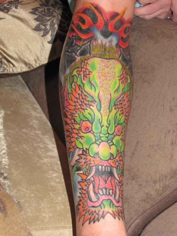Green Ink Dragon Tattoo