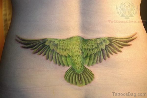 Green Ink Eagle Tattoo On Lower Back