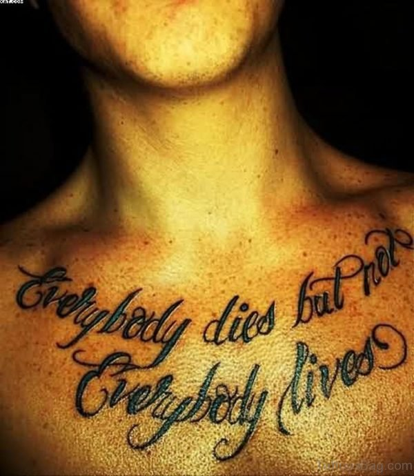 Green Ink Words Tattoo On Chest