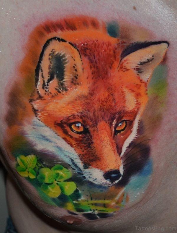 Green Leaf And Fox Tattoo