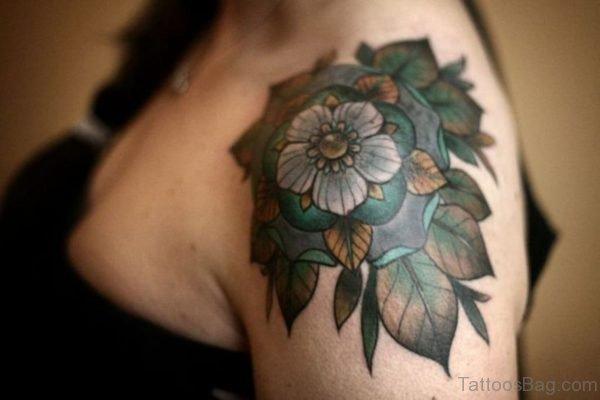 Green Leaves Geometric Tattoo