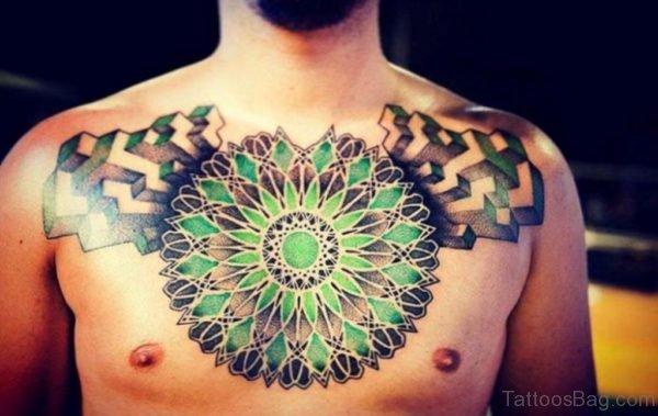 Green Mandala Tattoo On Chest