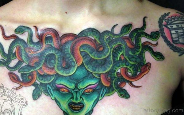 Green Medusa Tattoo For Chest