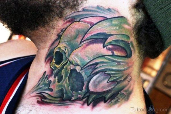 Green Skull Neck Tattoo