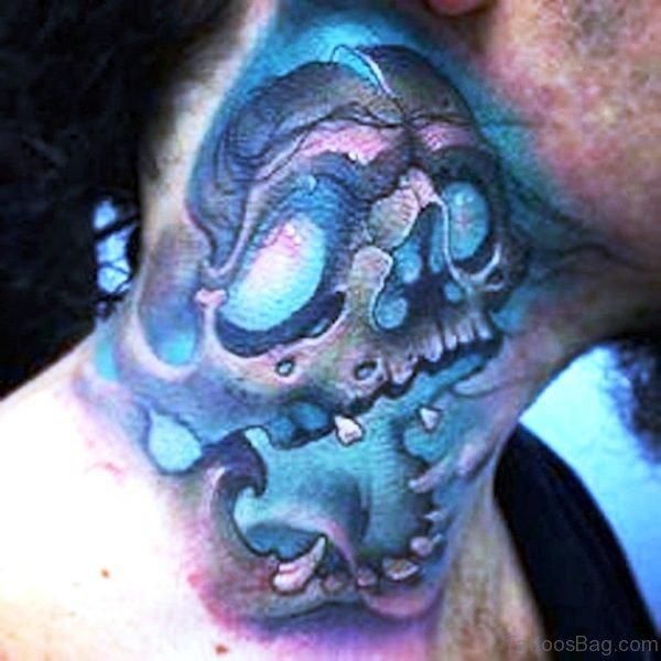 Green Skull Tattoo On Neck