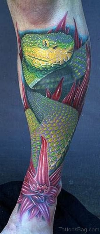 Green Snake Tattoo For Leg